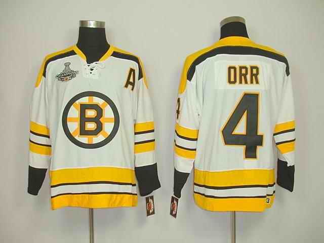 Bruins 4 Orr White Champions Jerseys