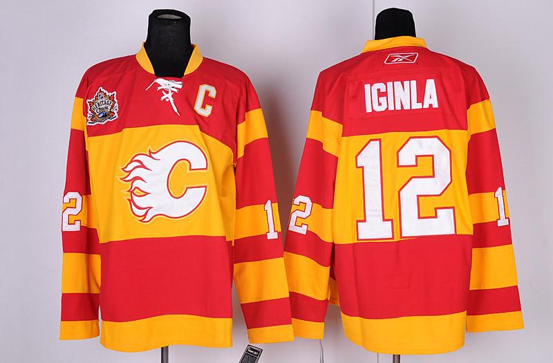 Calgary Flames 12 Jarome Iginla Red&Orange Heritage Classic Jerseys