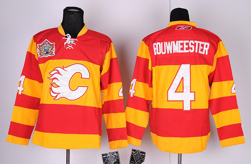 Calgary Flames 4 Jay Bouwmeester Red&Orange Heritage Classic Jerseys