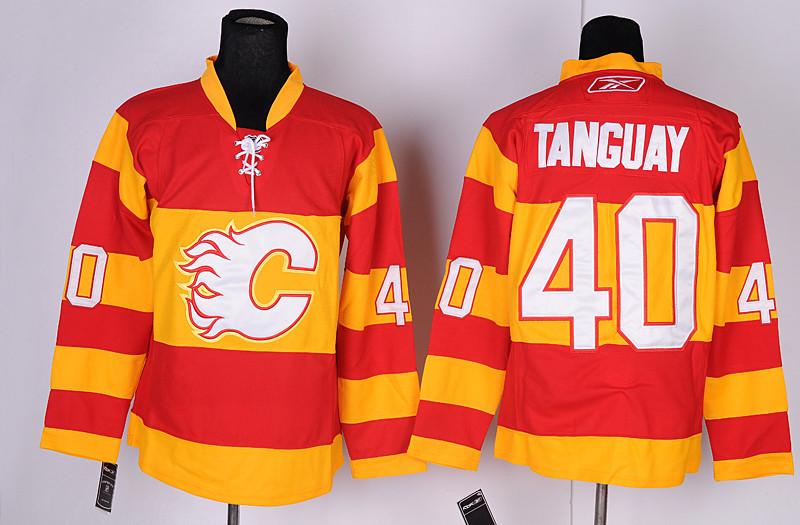 Calgary Flames 40 Tanguay Red&Orange Jerseys