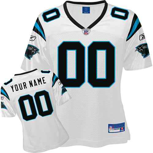Carolina Panthers Women Customized White Jersey