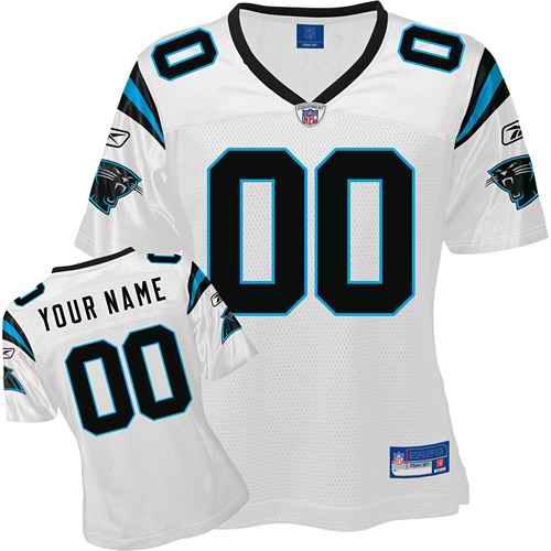 Carolina Panthers Women Customized White Jersey