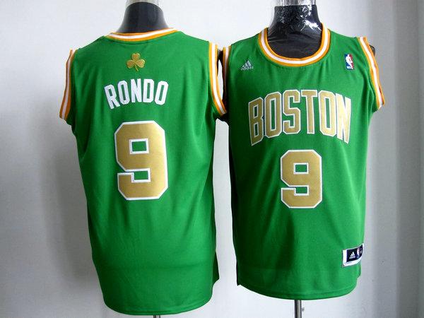 Celtics 9 Rondo Green golden number Jerseys