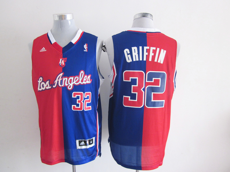 Clippers 32 Griffin Red&Blue Split Jerseys