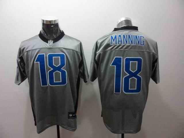 Colts 18 Manning grey Jerseys