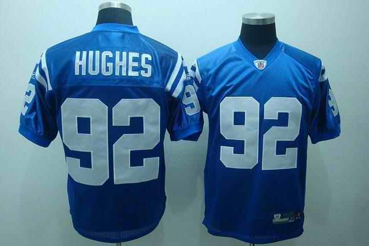 Colts 91 Hughes blue Jerseys