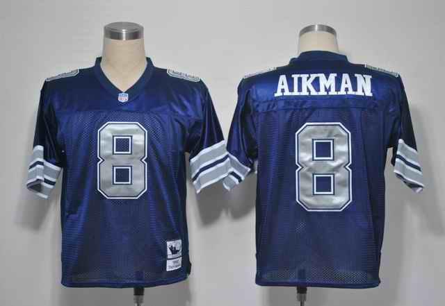 Cowboys 8 AIKMAN blue silver number jerseys