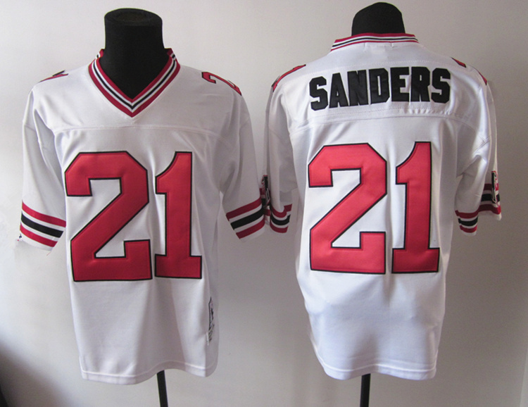 Falcons 21 Sanders White Throwback Jerseys