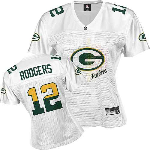 Green Bay Packers 12 RODGERS white Womens Jerseys
