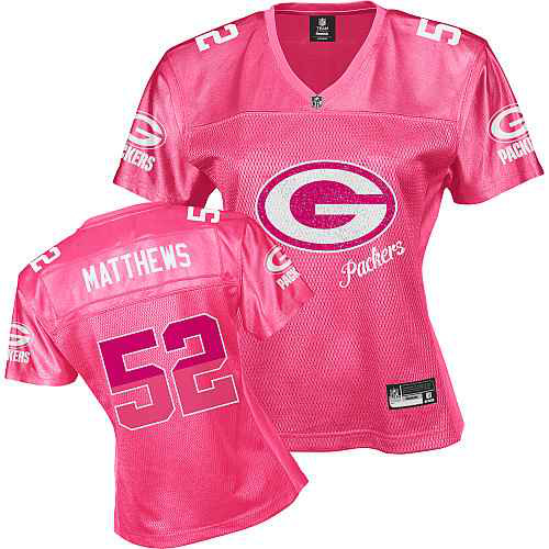 Green Bay Packers 52 MATTHEWS pink Womens Jerseys