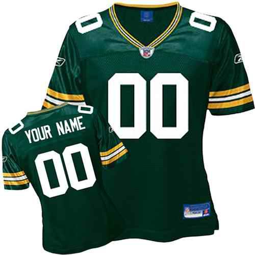 Green Bay Packers Women Customized Green Jersey