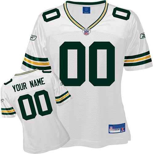 Green Bay Packers Women Customized White Jersey