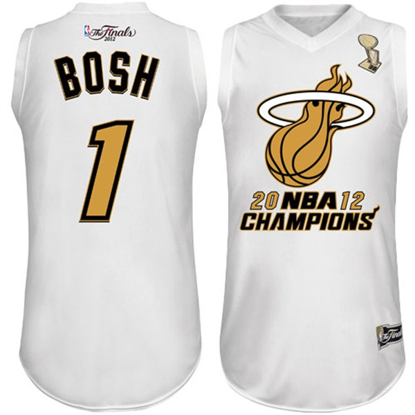 Heat 1 Bosh White Champions' Jerseys