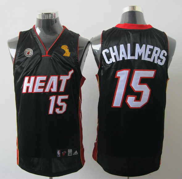 Heat 15 Chalmers Black 2013 Champion&25th Patch Jerseys