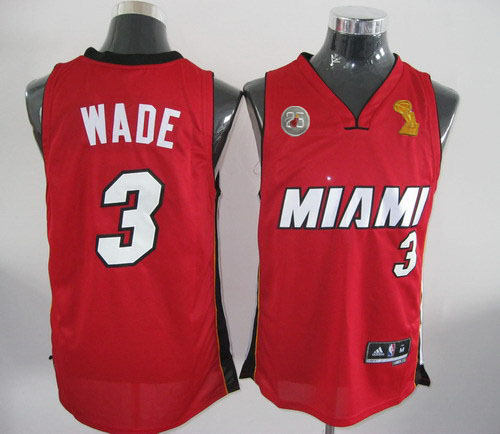 Heat 3 Wade Red 2013 Champion&25th Patch Jerseys