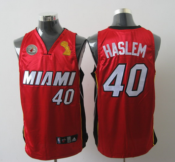 Heat 40 Haslem Red 2013 Champion&25th Patch Jerseys