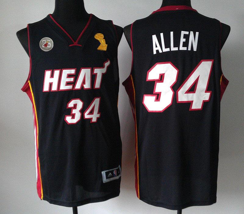 Heats 34 Allen Black 2013 Champion&25th Patch Jerseys