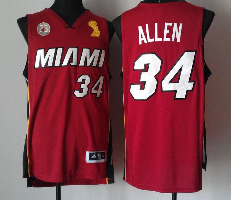 Heats 34 Allen Red 2013 Champion&25th Patch Jerseys