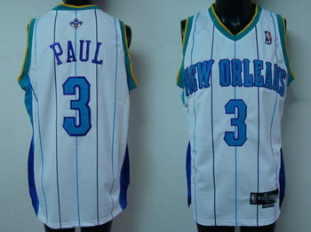 Hornets 3 Chris Paul White Blue Strip Jerseys