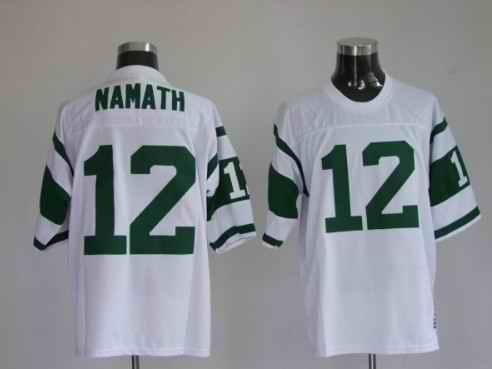 Jets 12 Namath White Throwback Jerseys