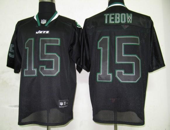 Jets 15 Tebow Lights Out BLACK Jerseys
