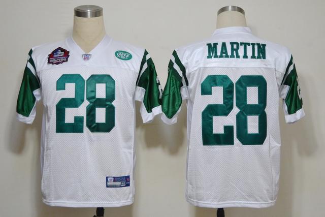 Jets 28 Martin Hall of Fame White Jerseys