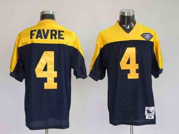 Jets 4 Brett Favre Blue Yellow Jersey
