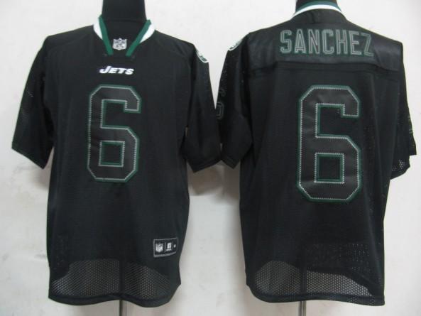 Jets 6 Sanchez Lights Out BLACK Jerseys