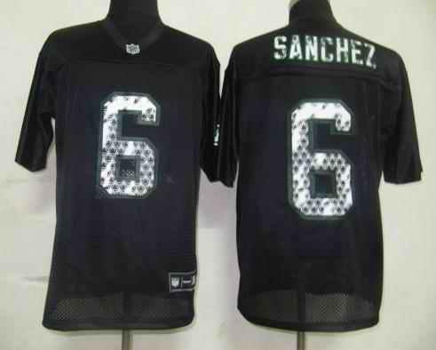 Jets 6 Sanchez black united sideline Jerseys