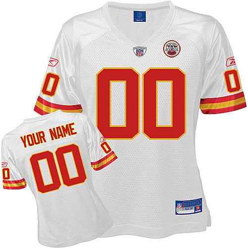 Kansas City Chiefs Women Customized White Jersey
