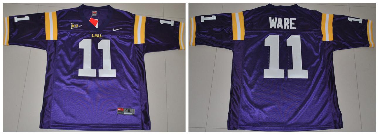 LSU Tigers 11 Ware purple Jerseys