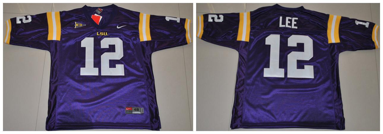 LSU Tigers 12 Lee purple Jerseys