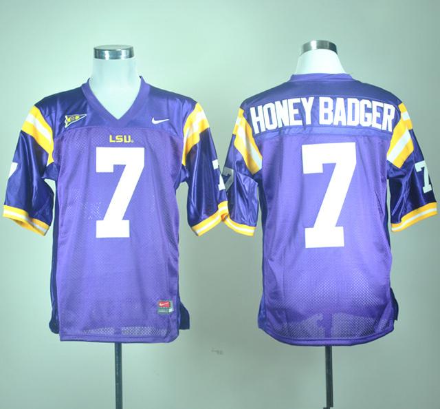 LSU Tigers 7 Honey Badger Purple Jerseys