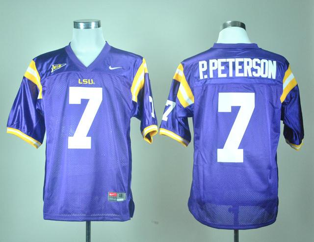 LSU Tigers 7 P.Peterson Purple Jerseys