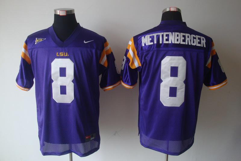 LSU Tigers 8 Zach Mettenberger Purple Jerseys