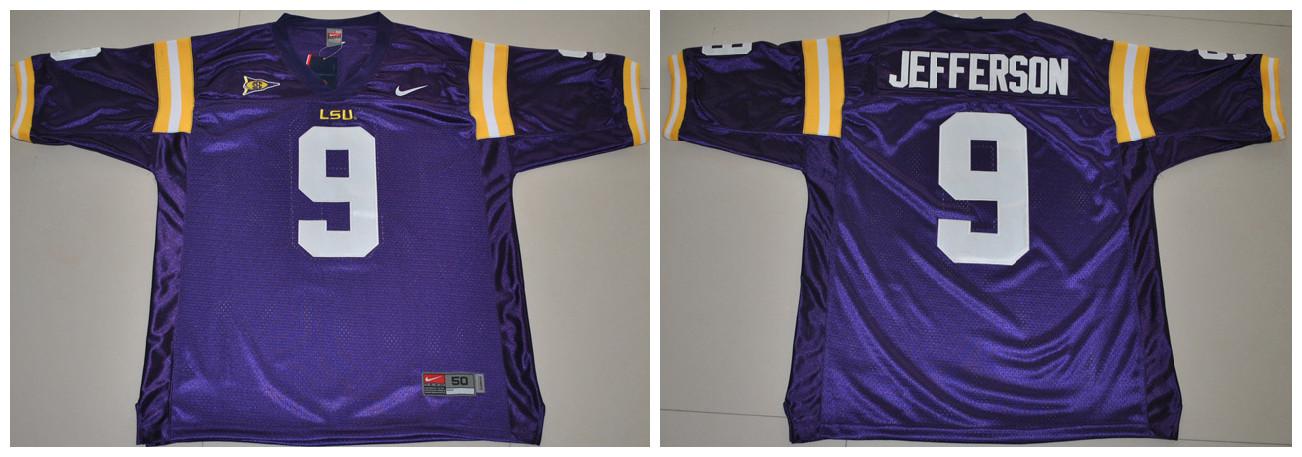 LSU Tigers 9 Jefferson purple Jerseys