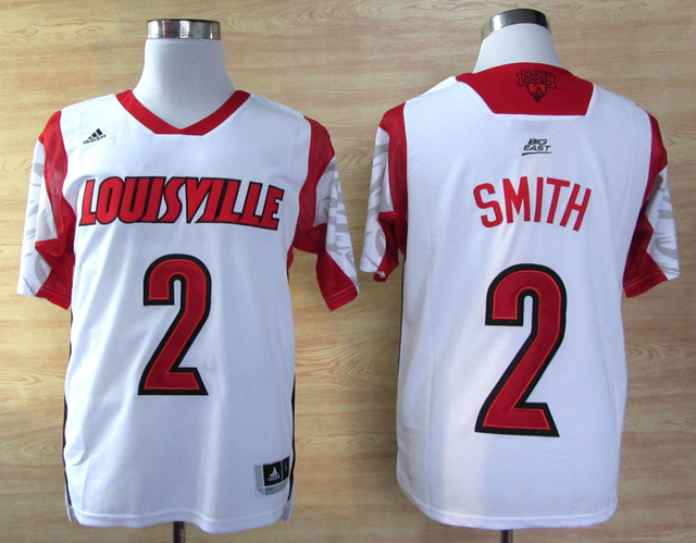 Louisville Cardinals 2 Smith White Big East Jerseys