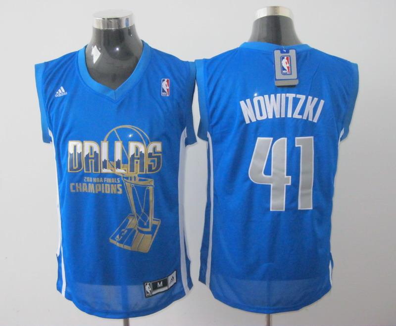 Mavericks 41 Nowitzki Light Blue 2011 Champions Jerseys