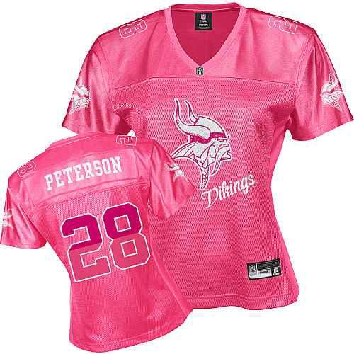 Minnesota Vikings 28 PETERSON pink Womens Jerseys