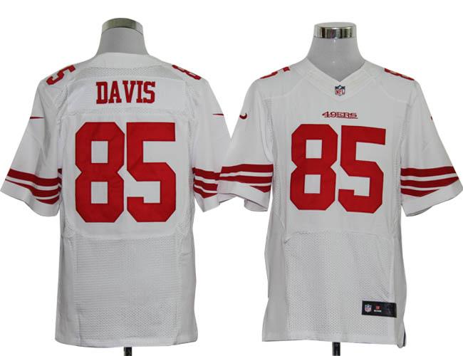 NIKE 49ers 85 DAVIS white Elite Jerseys