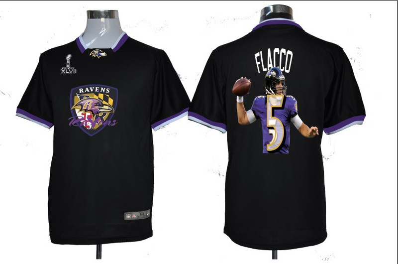 NIKE TEAM ALL-STAR Ravens 5 Flacco Black 2013 Super Bowl XLVII Jersey