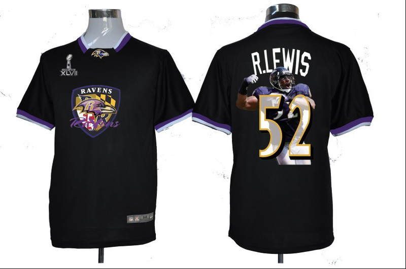 NIKE TEAM ALL-STAR Ravens 52 R.Lewis Black 2013 Super Bowl XLVII Jersey