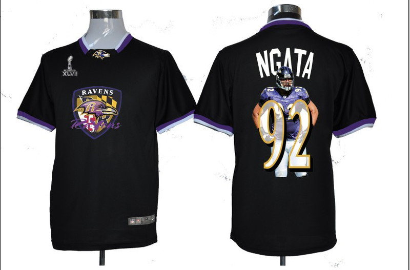 NIKE TEAM ALL-STAR Ravens 92 Ngata Black 2013 Super Bowl XLVII Jersey