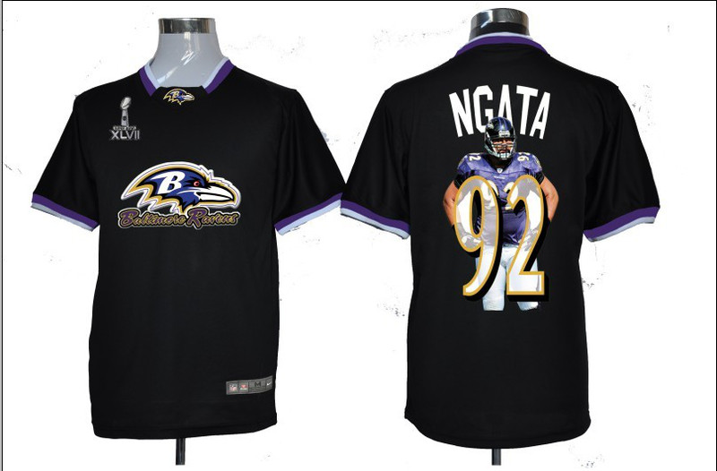 NIKE TEAM ALL-STAR Ravens 92 Ngata Black 2013 Super Bowl XLVII Jerseys