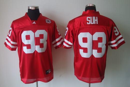 Nebraska Cornhuskers 93 Ndamukong Suh Red Jerseys