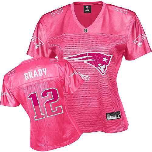 New England Patriots 12 BRADY pink Womens Jerseys