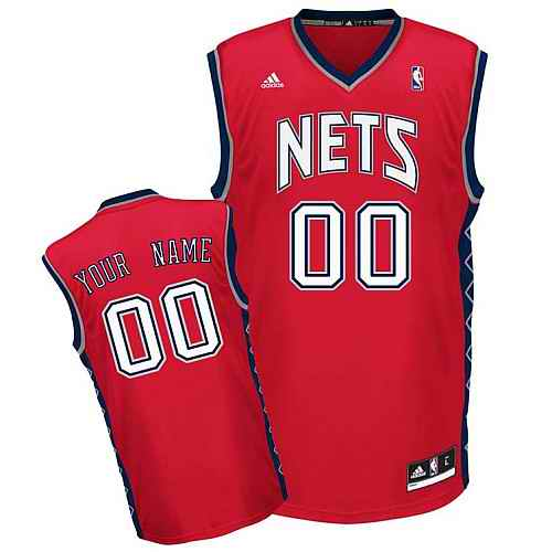 New Jersey Nets Youth Custom red V-neck Jersey