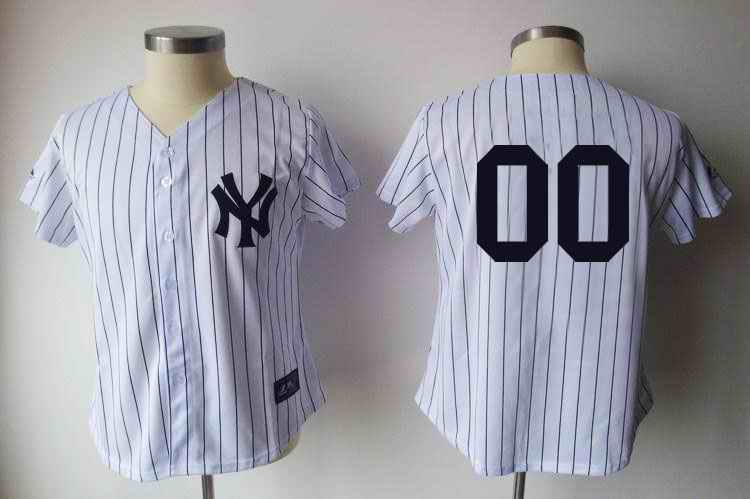 New York Yankees Blank White Black Strip Women Custom Jerseys
