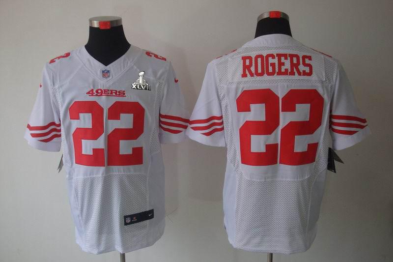 Nike 49ers 22 Rodgers White Elite 2013 Super Bowl XLVII Jersey