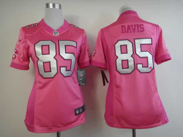 Nike 49ers 85 Davis Pink Love's Women Jerseys